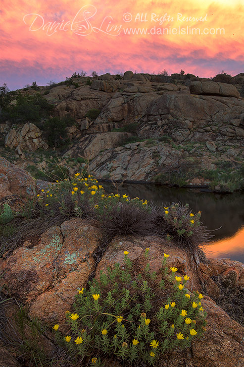 Golden Light sunset at Treasure Lake, Wichita Mountains