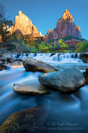 The Virgin River and Patriarchs, Zion National Park.